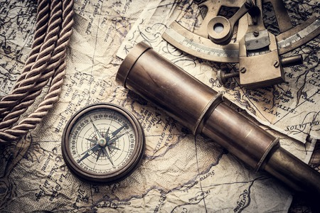 Photo for vintage still life with compass,sextant spyglass and old map - Royalty Free Image