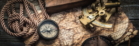 Photo for vintage still life with compass,sextant and spyglass - Royalty Free Image