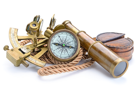 Foto de vintage still life with compass,sextant and spyglass - Imagen libre de derechos