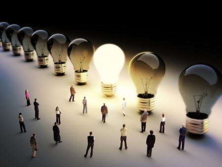 Photo pour Light bulbs in a row with one being on, large group of people with a few moving to the light.Leading the pack, ingenuity,taking the initiative,standing out from the crowd concept. - image libre de droit