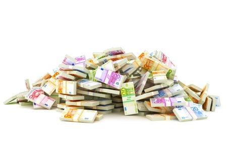 Foto de European pile of money, stacks of 10 s, 20 s, 50 s, 100 s, 500 s in Europeans currency on a white background  Saving or dept concept   - Imagen libre de derechos