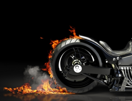 Custom black motorcycle burnout on a black background  Room for text or copy space