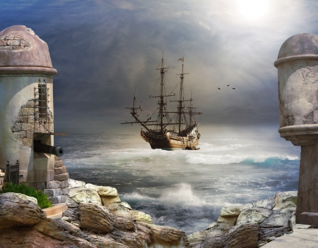 Photo pour The Pirate bay, A pirate or merchant ship anchored in the bay of a fort   - image libre de droit