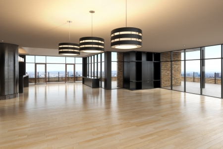Foto de Empty room of business, or residence with a city background  - Imagen libre de derechos
