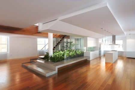 Photo pour Empty room of residence with an atrium center and hardwood floors  - image libre de droit