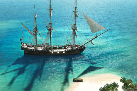 Foto de Exploration, 3D A pirate or merchant ship anchored next to an island with the crew going ashore  - Imagen libre de derechos