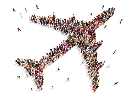 Photo for People traveling  Large group of people in the shape of an aircraft on a white background   - Royalty Free Image