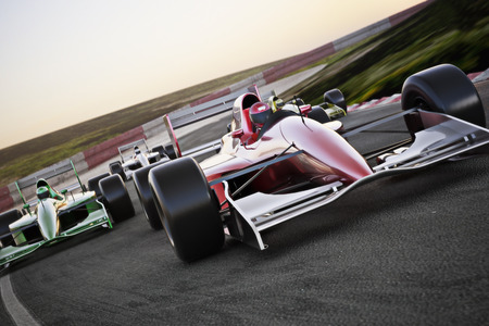 Foto de Red race car close up front view on a track leading the pack with motion Blur. High resolution 3d   render. Room for text or copy space - Imagen libre de derechos