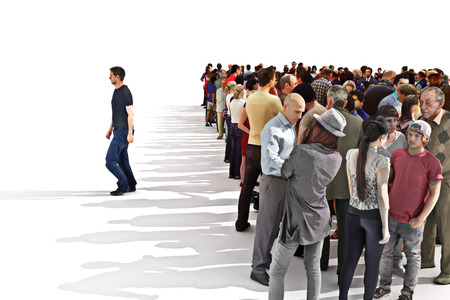 Foto de Standing out from the crowd concept, Man leaving a large crowd behind. - Imagen libre de derechos
