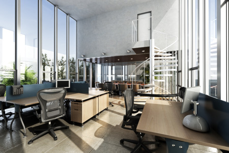 Foto de Open interior furnished modern office with large ceilings and windows . Photo realistic 3d rendering - Imagen libre de derechos