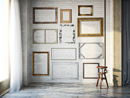 Photo pour Abstract interior of assorted classic empty picture frames against a white brick wall with rustic hardwood floors. Photo realistic 3d model scene. - image libre de droit