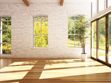 Photo pour Empty room of business, or residence with hardwood floors, stone walls and woods background. Photo realistic 3d rendering. - image libre de droit