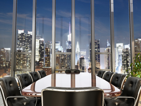 Foto de Business office conference room with table and leather chairs overlooking a city at dusk. Photo realistic 3d model scene. - Imagen libre de derechos