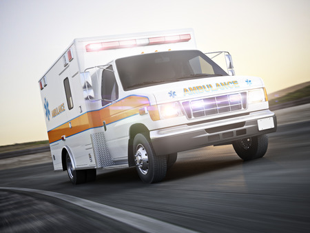 Photo for Ambulance running with lights and sirens on a street with motion blur. Photo realistic 3d model scene. - Royalty Free Image