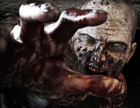 Photo pour Close-up portrait of a horrible scary zombie attacking, reaching for its unsuspecting victim . Horror. Halloween. 3d rendering - image libre de droit