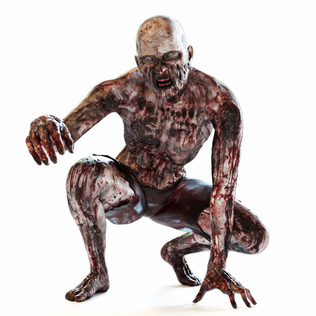 Photo for Zombie bloodthirsty undead posing on a white isolated background. 3d rendering - Royalty Free Image