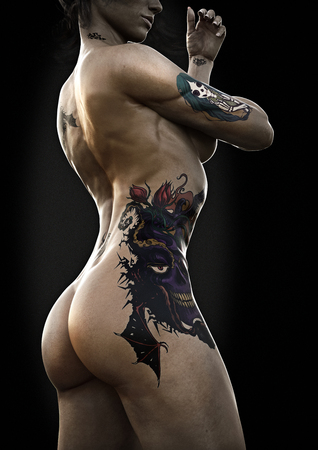 Photo pour Side view portrait of a beautiful young woman with tattoo's with rim lighting and a dark background. 3d rendering - image libre de droit