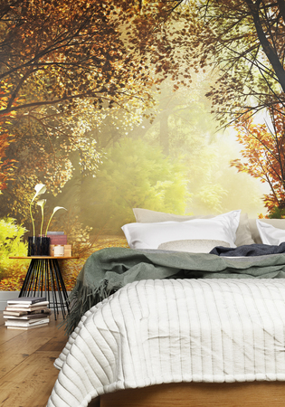 Photo pour Interior of a cozy Rustic Bedroom with a country nature wall mural background. 3d rendering - image libre de droit