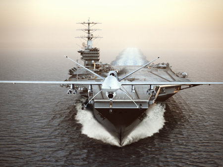 Photo for Military Drone aircraft launching from an aircraft carrier on a strike mission. 3d rendering - Royalty Free Image