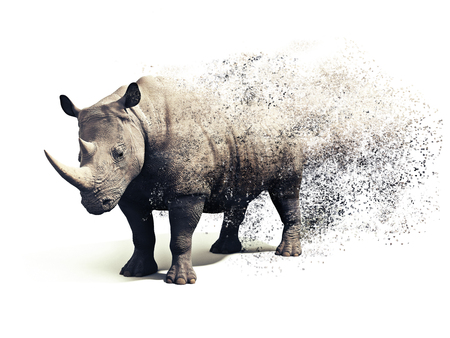 Photo for Rhinoceros on a white background with a dispersion abstract  effect. 3d rendering - Royalty Free Image