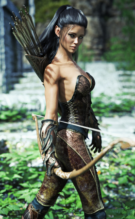 Photo for Fantasy elf female wearing exotic armor and equipped with a bow . 3d rendering - Royalty Free Image