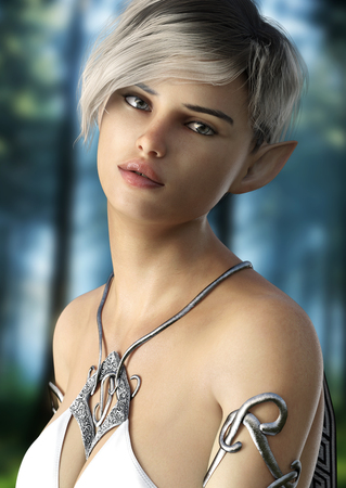 Photo for Fantasy elf female with short hair . Posing with a woods background. 3d rendering - Royalty Free Image