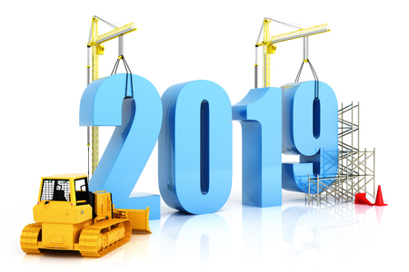 Photo pour Year 2019 growth, building, improvement in business or in general concept in the year 2019, 3d rendering on a white background - image libre de droit