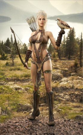 Photo for Fantasy elf female hunter surveying the lands with her hawk. 3d rendering - Royalty Free Image