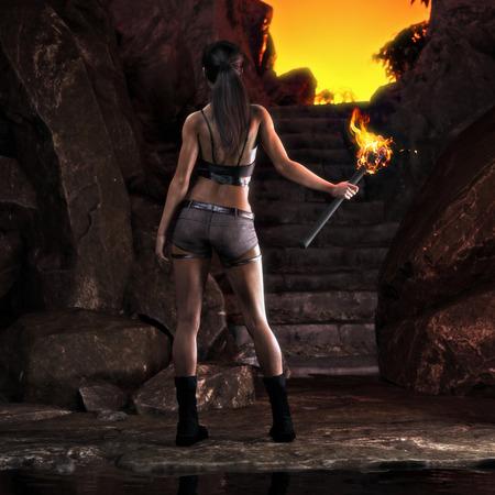 Foto de Thrill seeking adventurous female about to ascend on a great discovery . 3d rendering - Imagen libre de derechos