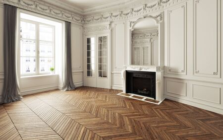 Photo pour Empty room of an elegant residence with fireplace ,white trim Victorian accent interior space and herringbone wood flooring. Photo realistic 3d illustration. 3d rendering - image libre de droit