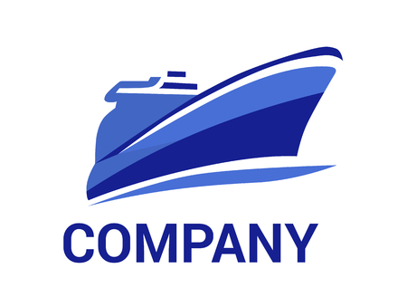 Illustration pour logistic ship for shipping import export trade sail over ocean flat design style logo illustration with blue color - image libre de droit
