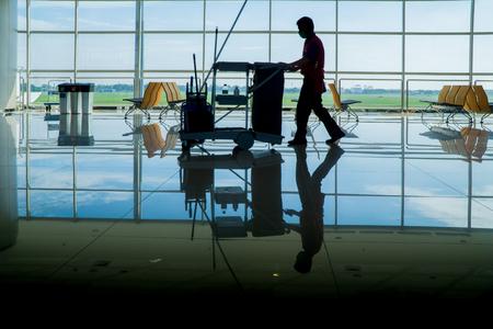 Photo pour silhouette of Janitor - image libre de droit