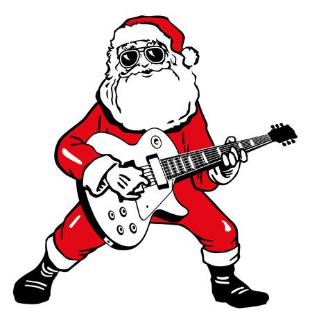 Ilustración de Santa Claus with electric guitar - Imagen libre de derechos