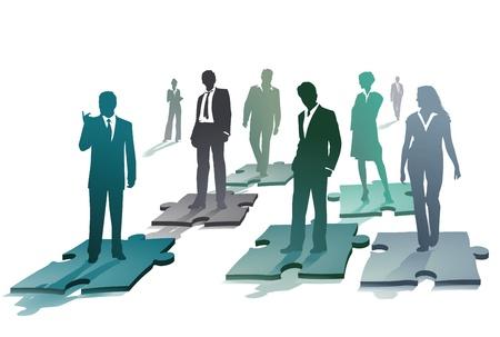 Photo pour Group of business people on a puzzle - image libre de droit