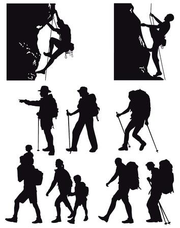 Illustration pour hiking, trekkin - image libre de droit