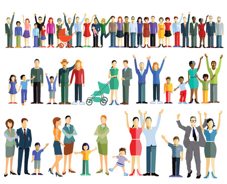Illustration pour Crowd people and groups - image libre de droit