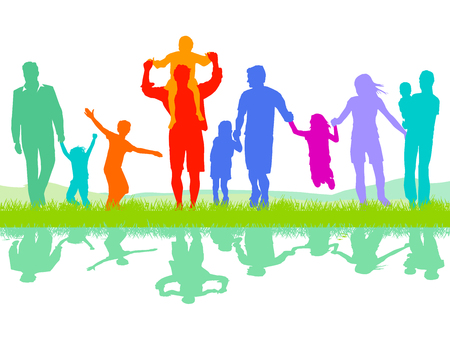 Illustration for Cheerful parents group with children - Royalty Free Image