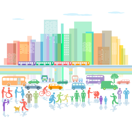 Illustration for Large city panorama with road traffic and pedestrians - Royalty Free Image