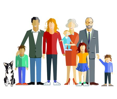 Illustration for Family generation together, illustration - Royalty Free Image