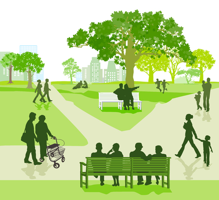 Illustration for Different generation together in the park illustration. - Royalty Free Image