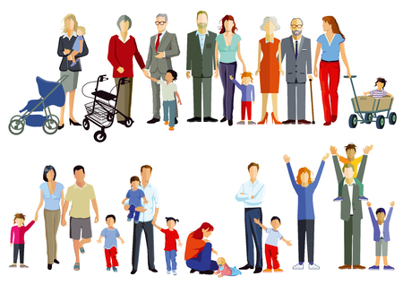 Illustration for Group of families and generation together illustration - Royalty Free Image