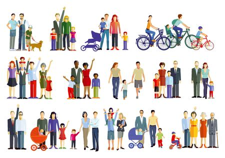 Illustration for cheerful parent groups with children - Royalty Free Image