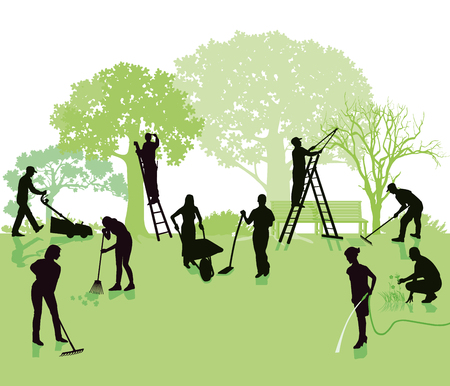 Illustration pour Gardening, garden with gardeners - image libre de droit