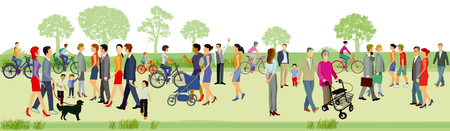 Illustration for Families walk in the park, illustration. - Royalty Free Image