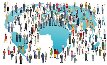 Ilustración de World Population International In colorful illustration - Imagen libre de derechos