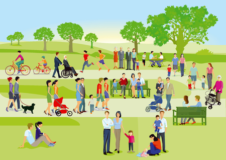 Illustration for Families and people are relaxing in the park, illustration - Royalty Free Image