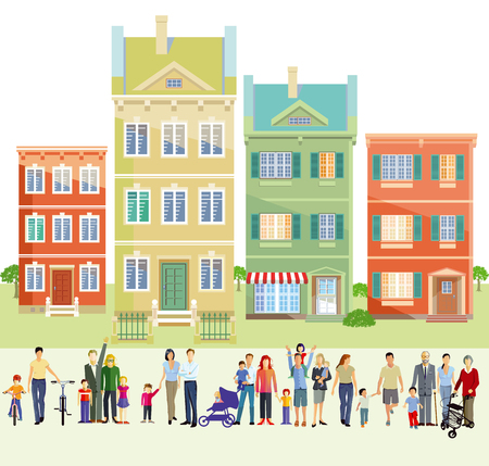 Illustration for Family groups in front of houses, illustration - Royalty Free Image