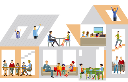 Illustration for Family life in the house, vector illustration. - Royalty Free Image