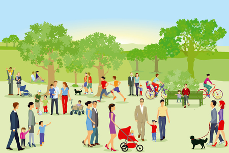 Illustration for Walkers and families have fun in the park - Royalty Free Image