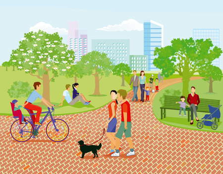 Illustration for Families and parents relax in the park, illustration - Royalty Free Image